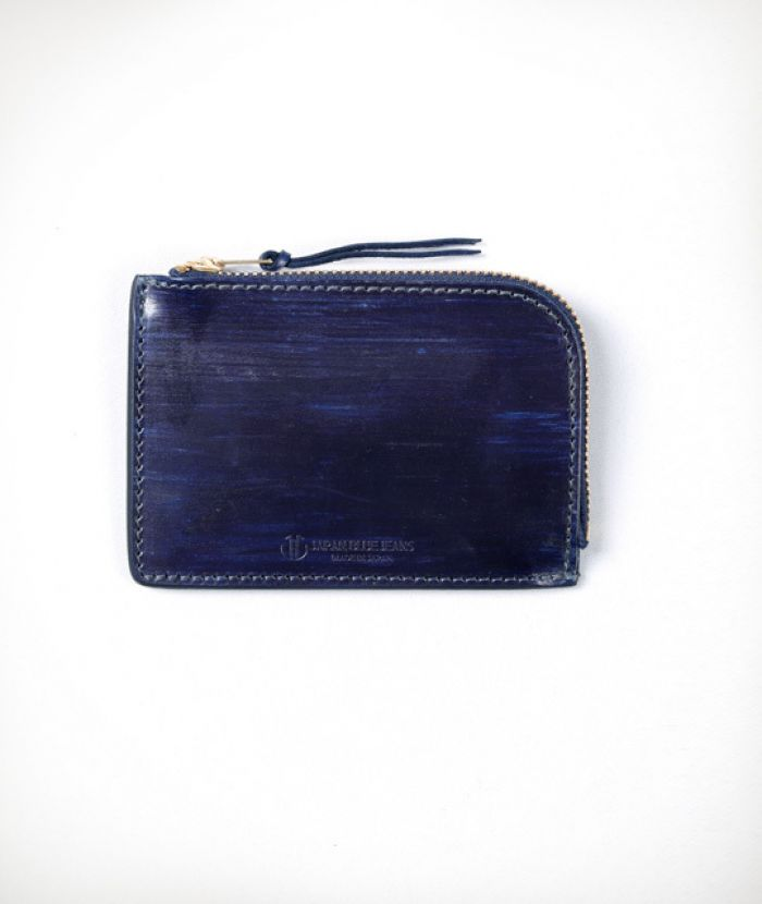J55433R12 Leather Zipper Wallet (Indigo)